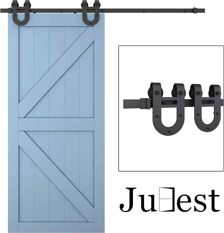 JUBEST 6.6ft 1 Rail Black Steel Sliding Barn Door Hardware Track Kit,Horseshoe Hanger Roller