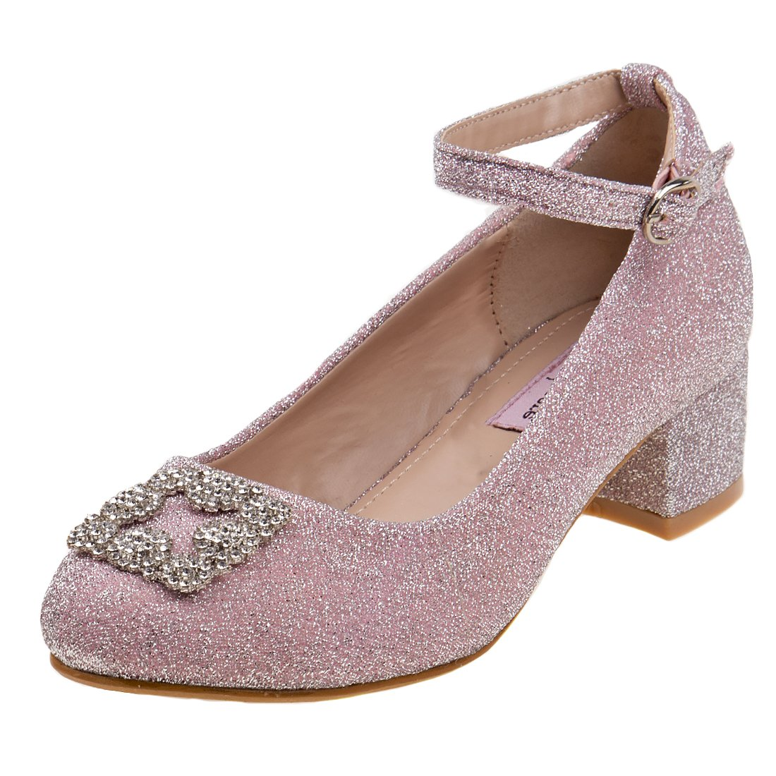 Nanette Lepore Girls Glitter Mesh Dress Block Heel Shoes with Rhinestone Buckle, Pink, 11 M US Little Kid'