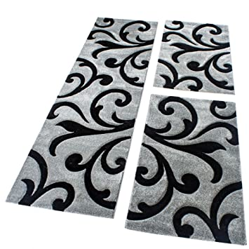 Läufer 80x300 phc bettumrandung läufer teppich modern ranken muster grau schwarz