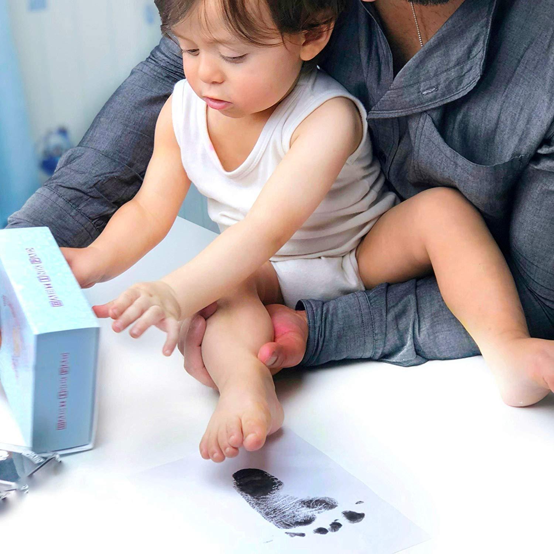 Fu/ßabdruck Baby und Handabdruck Baby Fu/ß Schwarz,Blau, Rosa oder Hand-Abdruckset Set Baby Stempelkissen Sichere wiederverwendbare,leicht abzuwaschen