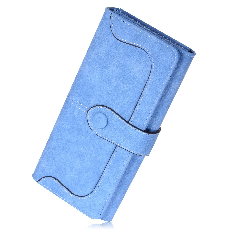 Newland Elegant Damen Geldbörsen PU Leder Geldbeutel Geldbörse Mappe Damen Portemonnaie Handtasche (Schwarz)