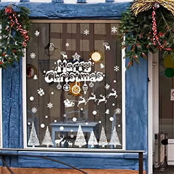 Decorie snowflake christmas trees moose wall stickers for windows home decor 9060cm