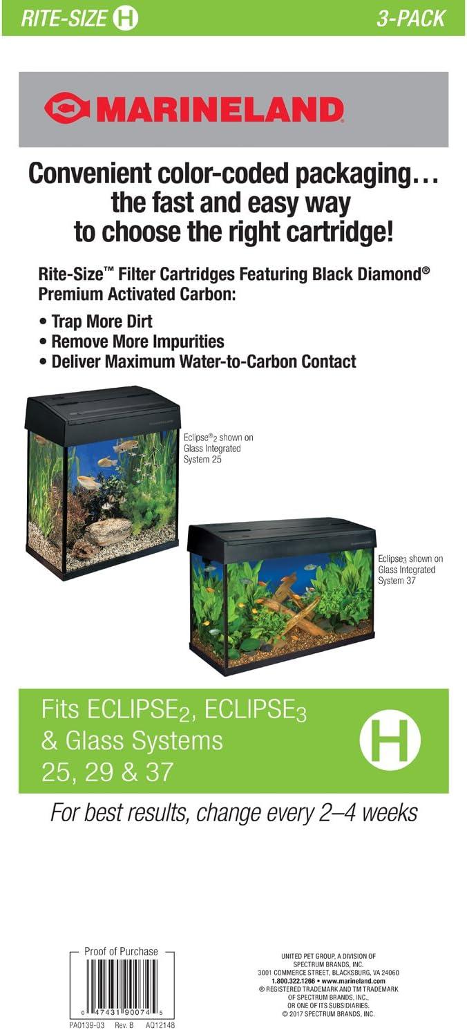 Marineland Rite-Size Cartridge Refills A 3-Pack Purify Water Fish Tank Aquarium