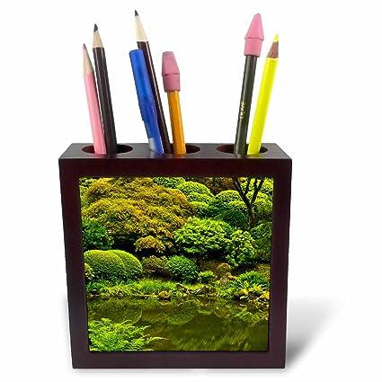 3dRose Green Pond And Foliage Of A Garden, Portland, Oregon Tile Pen Holder,