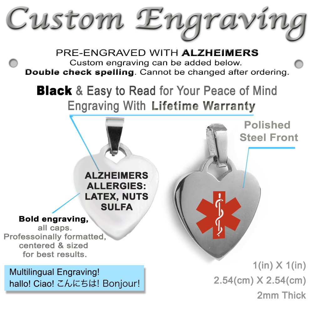 Pre-Engraved /& Customized Dementia Charm Medical Bracelet My Identity Doctor Red Millefiori Glass White