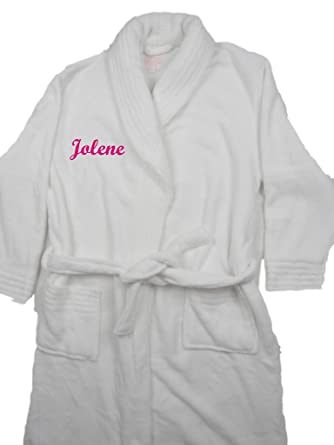 4c3f8aa9dd Giftsabc Personalised White Ladies Supersoft Luxury Fleece Dressing Gown  Embroidered with a Name (Medium)