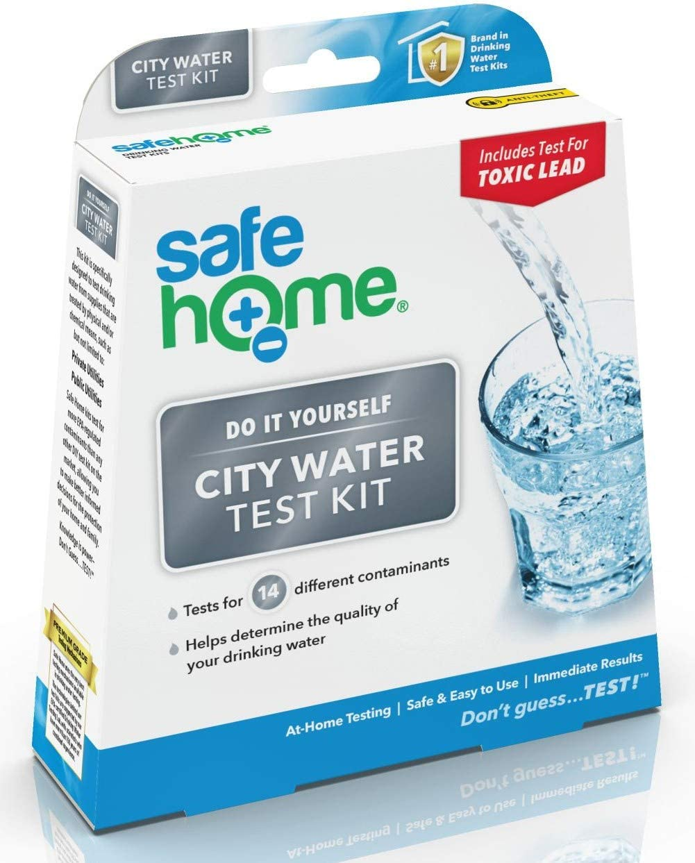 Safe Home CITY WATER Test Kit – DIY Testing for 14 Different Parameters in a City Water Supply – Lead, Copper, Iron, Zinc, Chlorine, pH, Hardness & More.