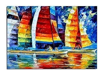 Tableau Voilier Bateau Navire Peinture Huile Toile Fait Main Art ...