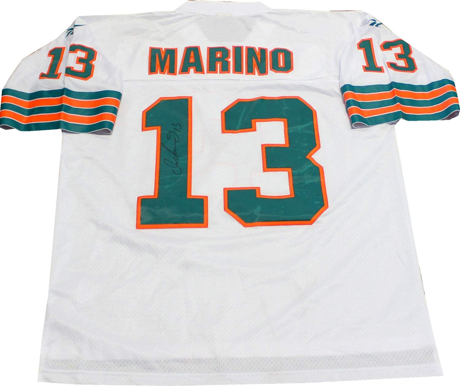 reputable site 14d06 364c1 Dan Marino Autographed Miami Dolphins Throwback Jersey at ...