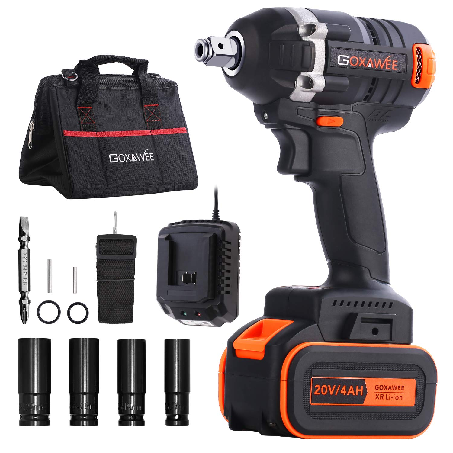 Cordless Impact Wrench 1/2 Inch - GOXAWEE 20V Electric Impact Gun (4Ah Battery, 300Nm, Brushless, 1/2 & 1/4 Inch Quick Chuck, 2-Speed, Tool Bag) - High Torque Impact Driver Kit for Home & DIY Project