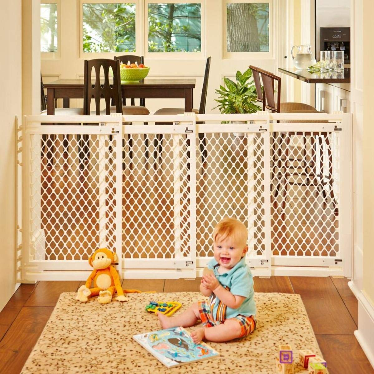 North States 62'' Wide Extra-Wide Baby Gate: Smoothly Opens and Closes in Extra-Wide Spaces. Hardware Mount. Fits 22''-62'' Wide (31'' Tall, Ivory)