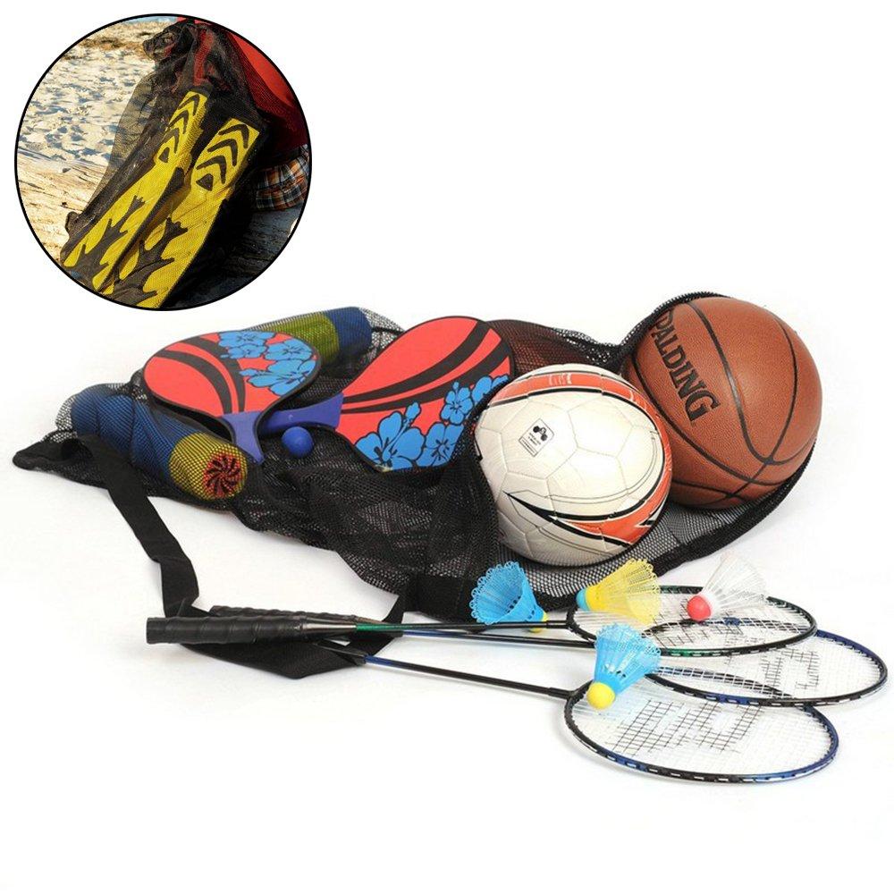 forepin Strandspielzeug Tasche Aufbewahrung Tasche Netz Netzbeutel f/ür Fu/ßball Volleyball Handball Basketball Softball Extra Gro/ße Schwarz B/älle Nicht Inklusive