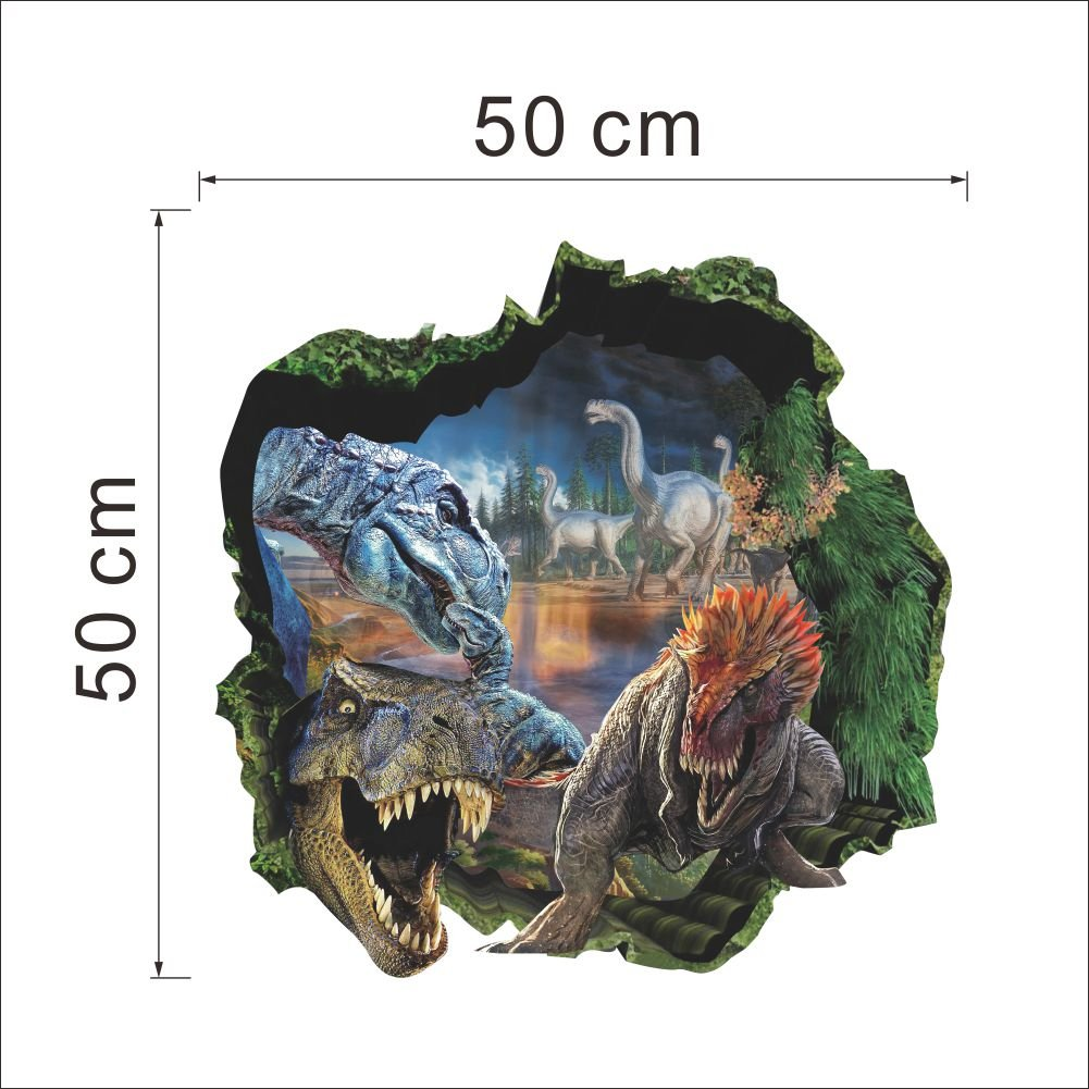 top me 3d dinosaurs through the wall stickers jurassic park home