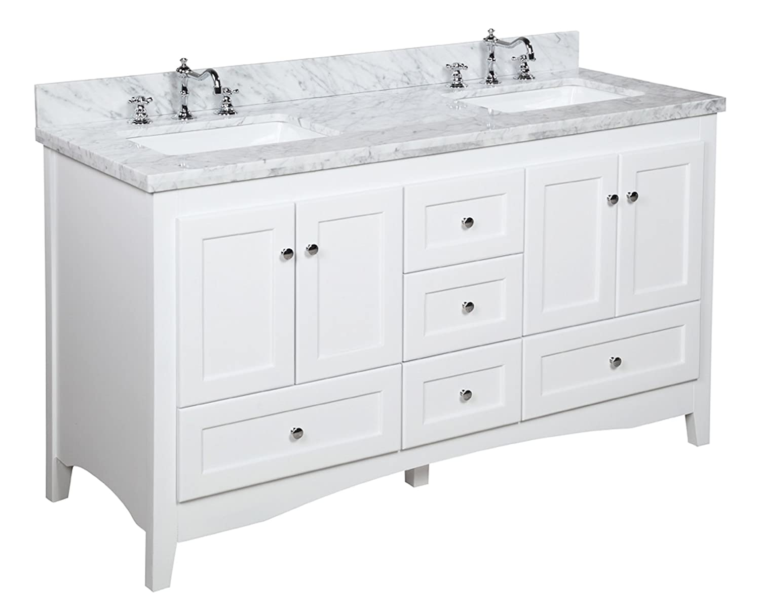 Abbey 60-inch Double Bathroom Vanity Carrara White Includes White Shaker Style Cabinet with Soft Close Drawers, Authentic Italian Carrara Marble Top, and Rectangular Ceramic Sinks