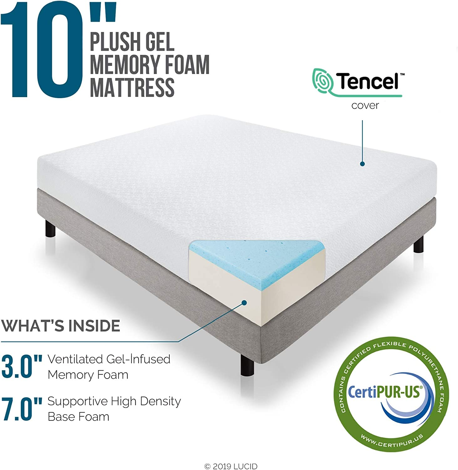 Amazon Com Lucid 10 Inch 2019 Gel Memory Foam Mattress Medium Plush Feel Certipur Us Certified 10 Year Warranty Queen Furniture Decor