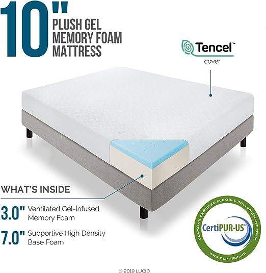 Amazon Com Lucid 10 Inch 2019 Gel Memory Foam Mattress Medium