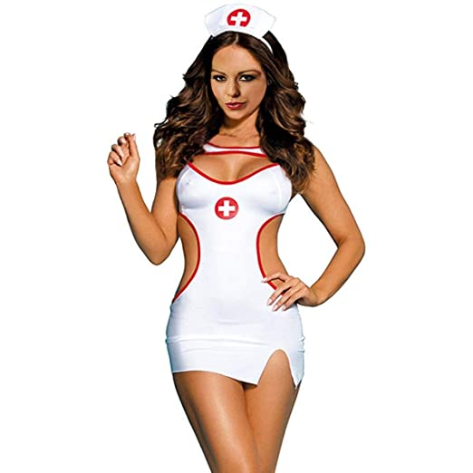 db70a67e0f341 Glife Women Sexy Nurse Cosplay Costume Doctor Uniform Outfits Teddy Lingerie  Set (nurse1)