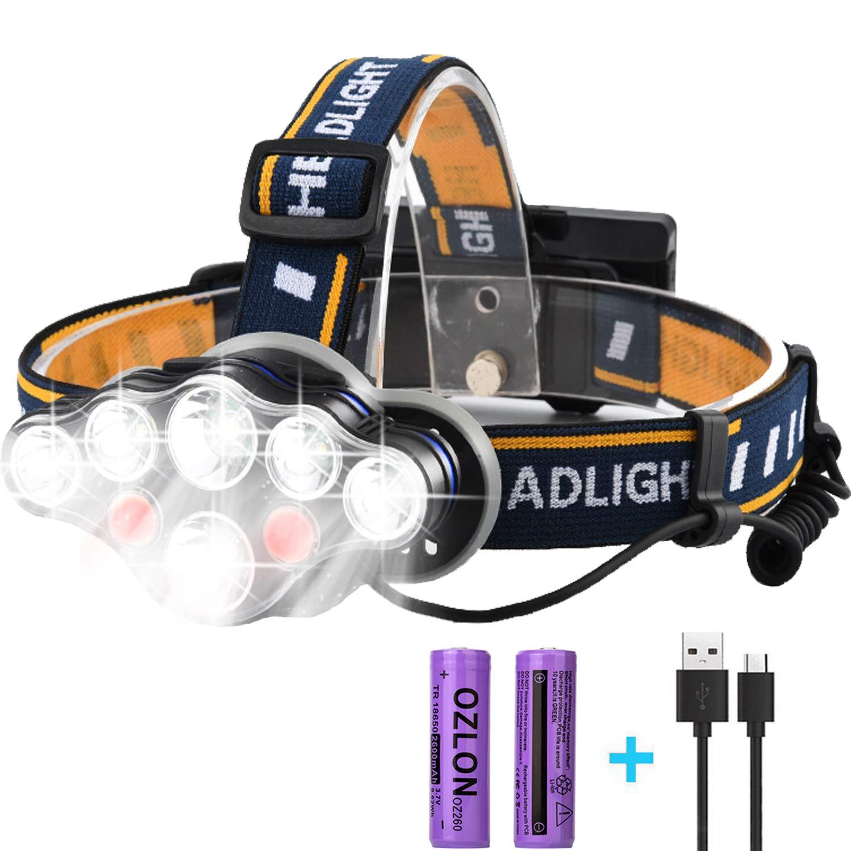 Rechargeable LED Headlamp, HFAN Super Bright 8 Modes 6000 Lumens Adjustable Waterproof 8 LED Head Lamp for Camping, Riding, Running, Night Walking, Fishing, Hunting,Reading,Car Repairing,DIY Works