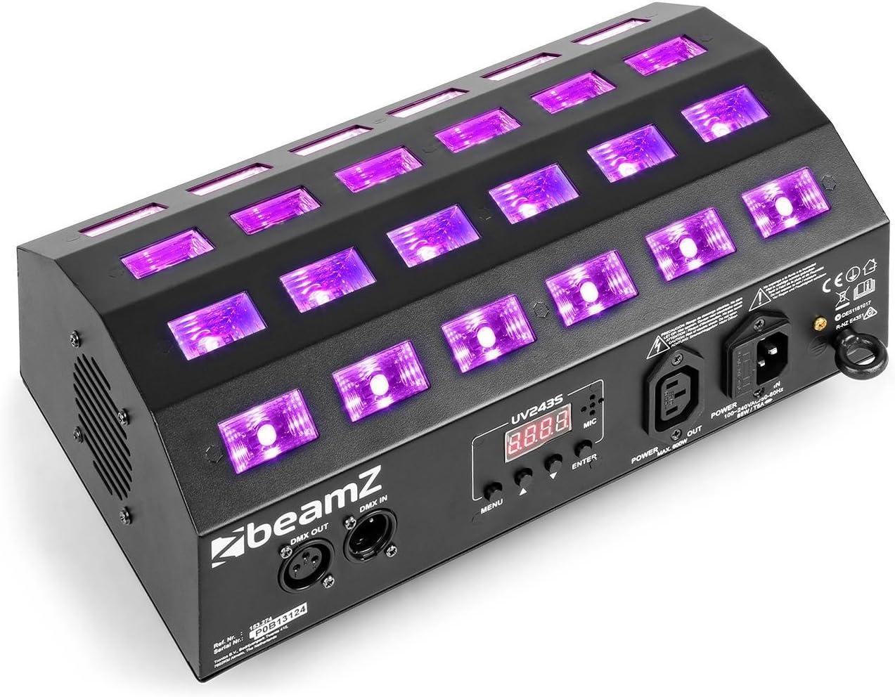 Mode DMX 7 canaux ou mode auto Shows pr/éprogramm/és Mode audio Id/éal pour soir/ée /à th/ème Puissance 3 Watts par LED 24 LED UV BeamZ Strobe LED UV BUV463