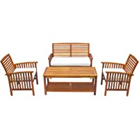 4-Piece Outsunny Acacia Wood Conversation Set