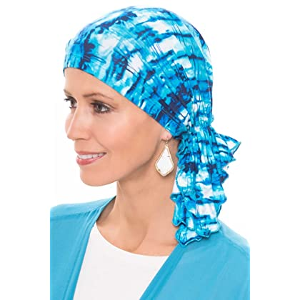 Slip-On Slinky-Caps for Women with Chemo Cancer Hair Loss Blue Tie Dye.  Brand  Headcovers Unlimited c29aff0e8c64