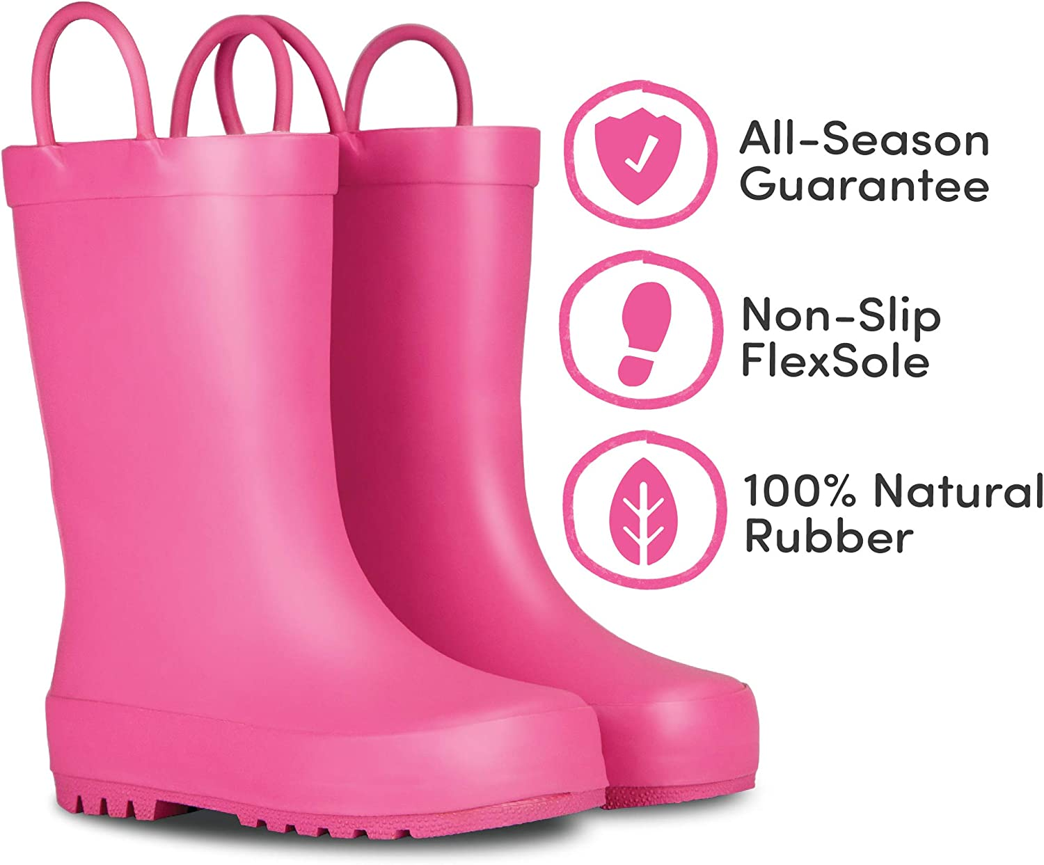 Premium Natural Rubber Rain Boots with Matte Finish for Toddlers and Kids LONECONE Elementary Collection