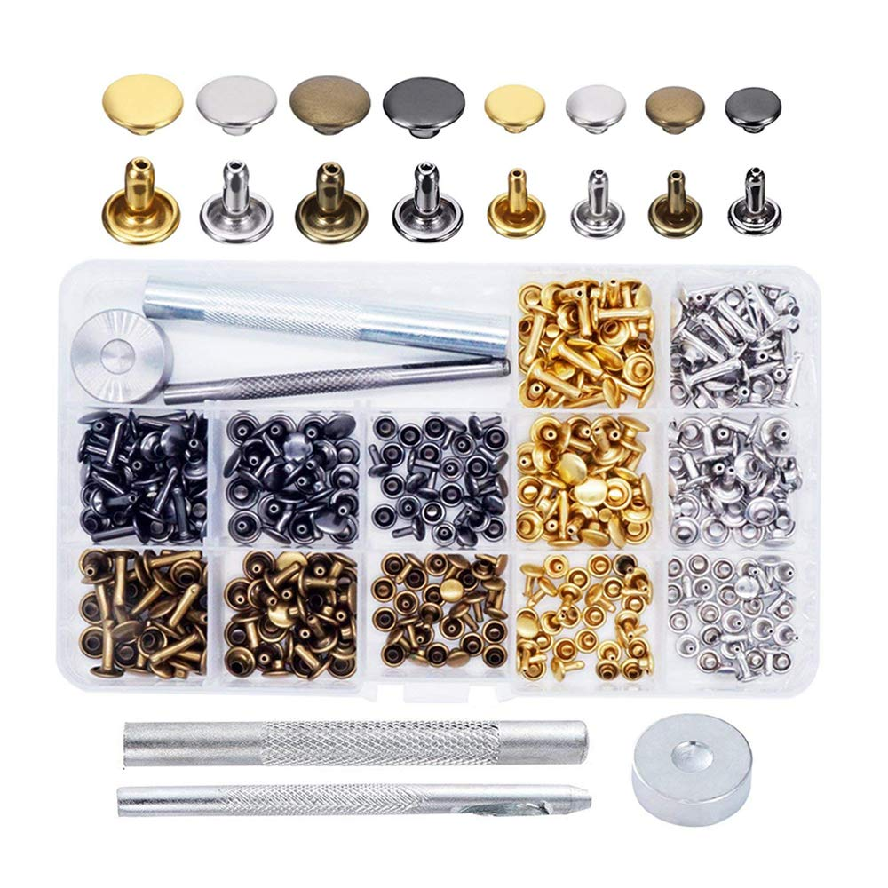 240 Sets Leather Rivets, EMiEN Double Cap Rivet Tubular Metal Studs with Fixing Tools and Storage Box for DIY Craft/Clothes/Shoes/Bags/Belts Repair and Decoration, 2 Sizes 4 Colors (gold, silver, bron ELUVIE