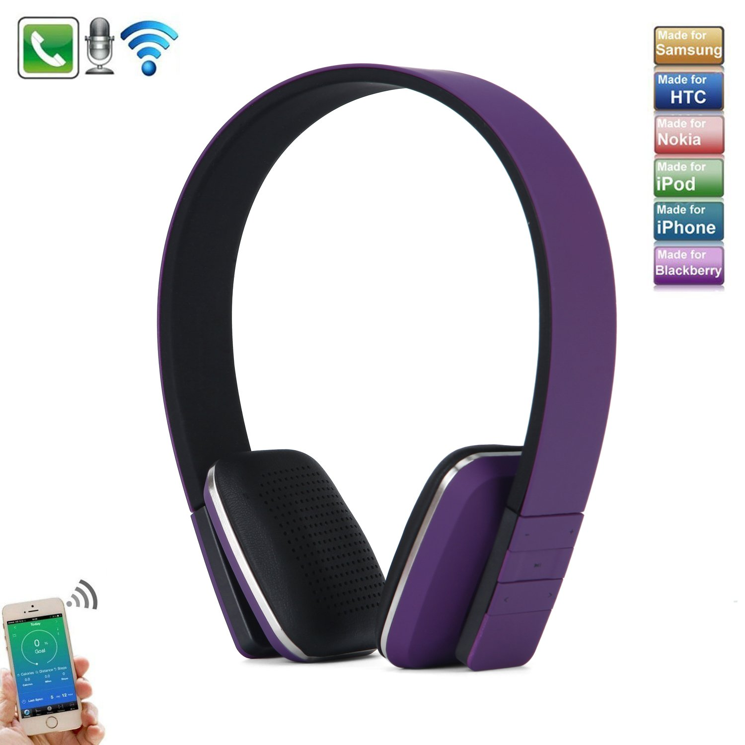 Wireless Bluetooth Headphones, Adjustable Head Type Over Ear Musical Earphone Headset Speaker Bulit in Mic with Plugable Bluetooth USB Adapter for Android,iPhone,PC,TV,Tablet - Purple