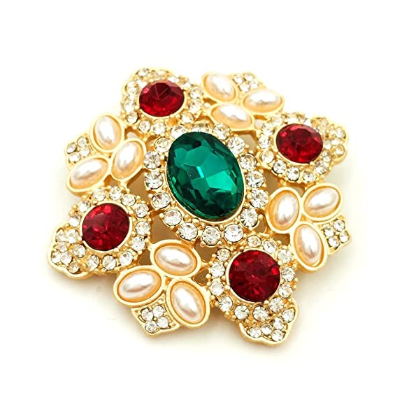 917c4d903 Amazon.com: DREAMLANDSALES Byzantine Vintage Imitated Pearls Cluster Red  Green Stone Cross Brooches Pins: Jewelry