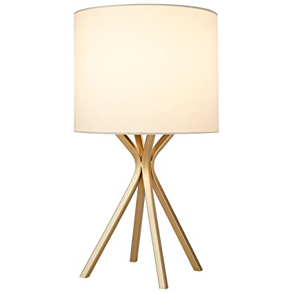 Good Rivet Gold Table Lamp, 18u0026quot;H, With Bulb, With Drum Linen Shade