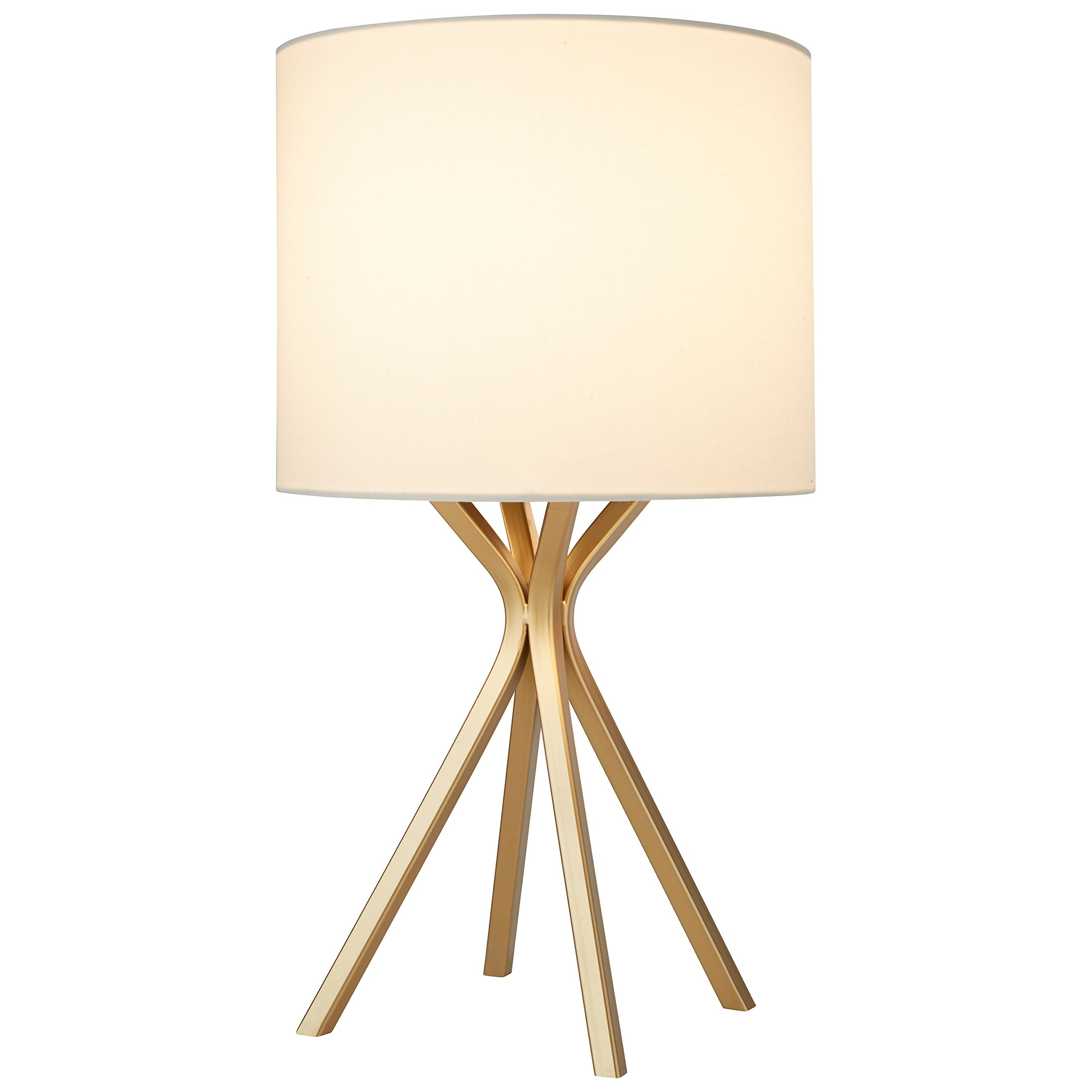 Rivet Gold Table Lamp, 18''H, with Bulb, with Drum Linen Shade