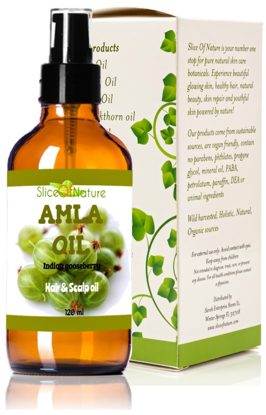 Slice Of Nature AMLA OIL for Hair - 100% Natural - Stops Premature Greying - Stops Alopecia - Darkens Hair Naturally - Promotes Hair Growth - No chemicals, Mineral oil or Synthetics - High concentrate amla berry extract 4 oz