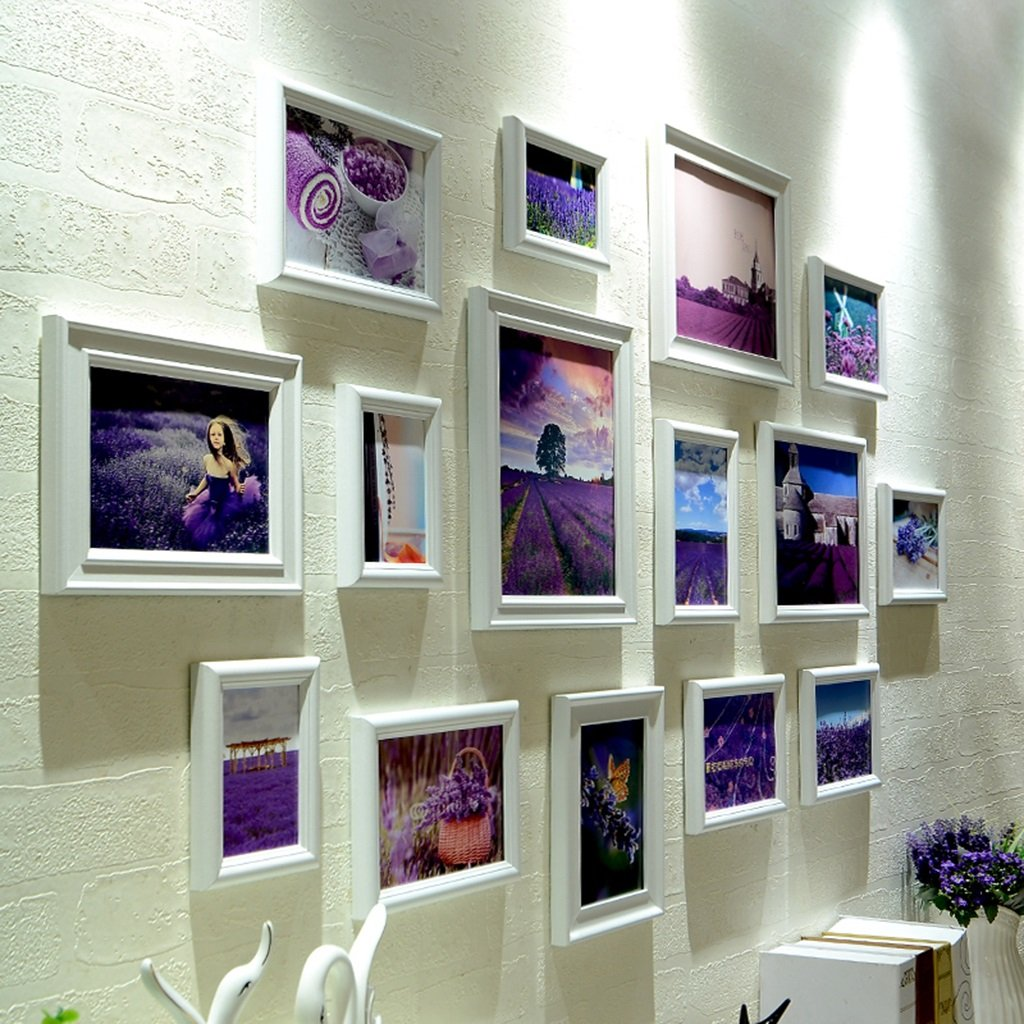 ZYANZ Modern Fashion Photo Wall, White And Blue Rectangular Free Combination Photo Frame (15 Packs)