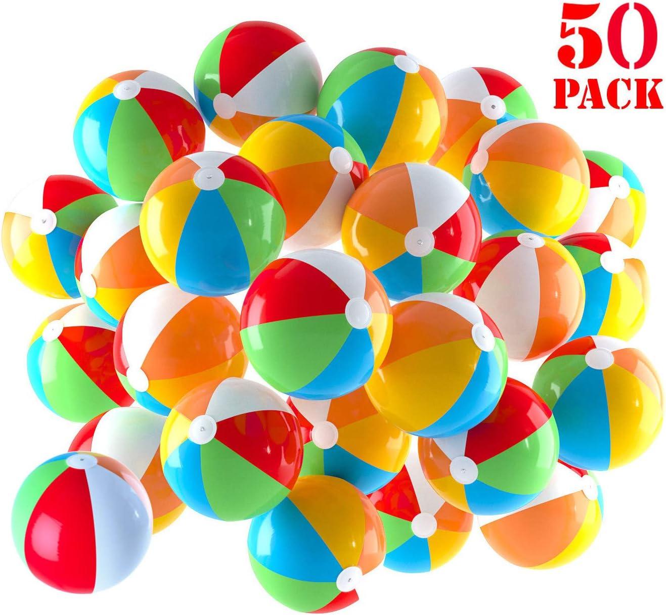 Pelotas de playa inflables de 5 pulgadas para la piscina, la playa, las fiestas de verano, los regalos y las decoraciones | Paquete de 50 Mini Blow up Bolas de Playa de Color Arcoiris (50 Bolas)