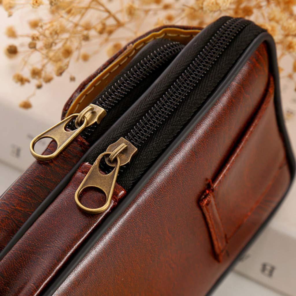 Mens Simple Waist Packs Retro Versatile Large Size Casual Double-Deck Cellphone Waist Bag for Men Travel Running Walking