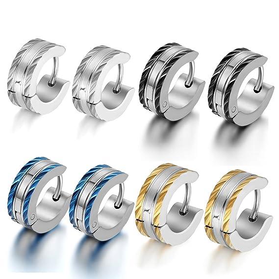 2a199cf20721 OIDEA Aretes de Acero Inoxidable Quirúrgico Pendientes de Aro Clip  Hipoalergénico para Oreja Oído Joyería Hombre