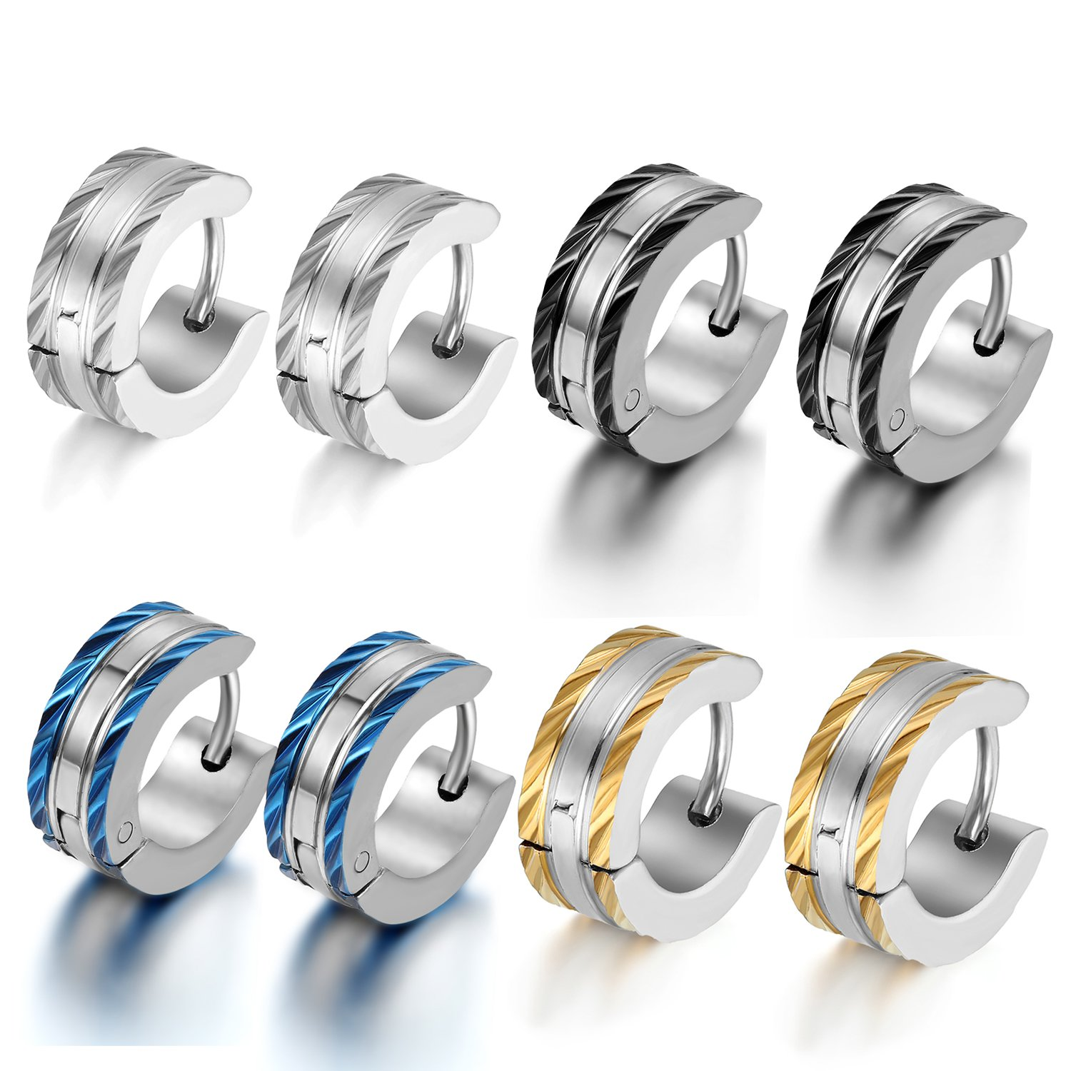 Oidea 8pcs 5MM Stainless Steel Mens Punk Hinge Hoop Earrings,Tiny ,Light Earrings,Assorted Color,Hypoallergenic O030017-CA