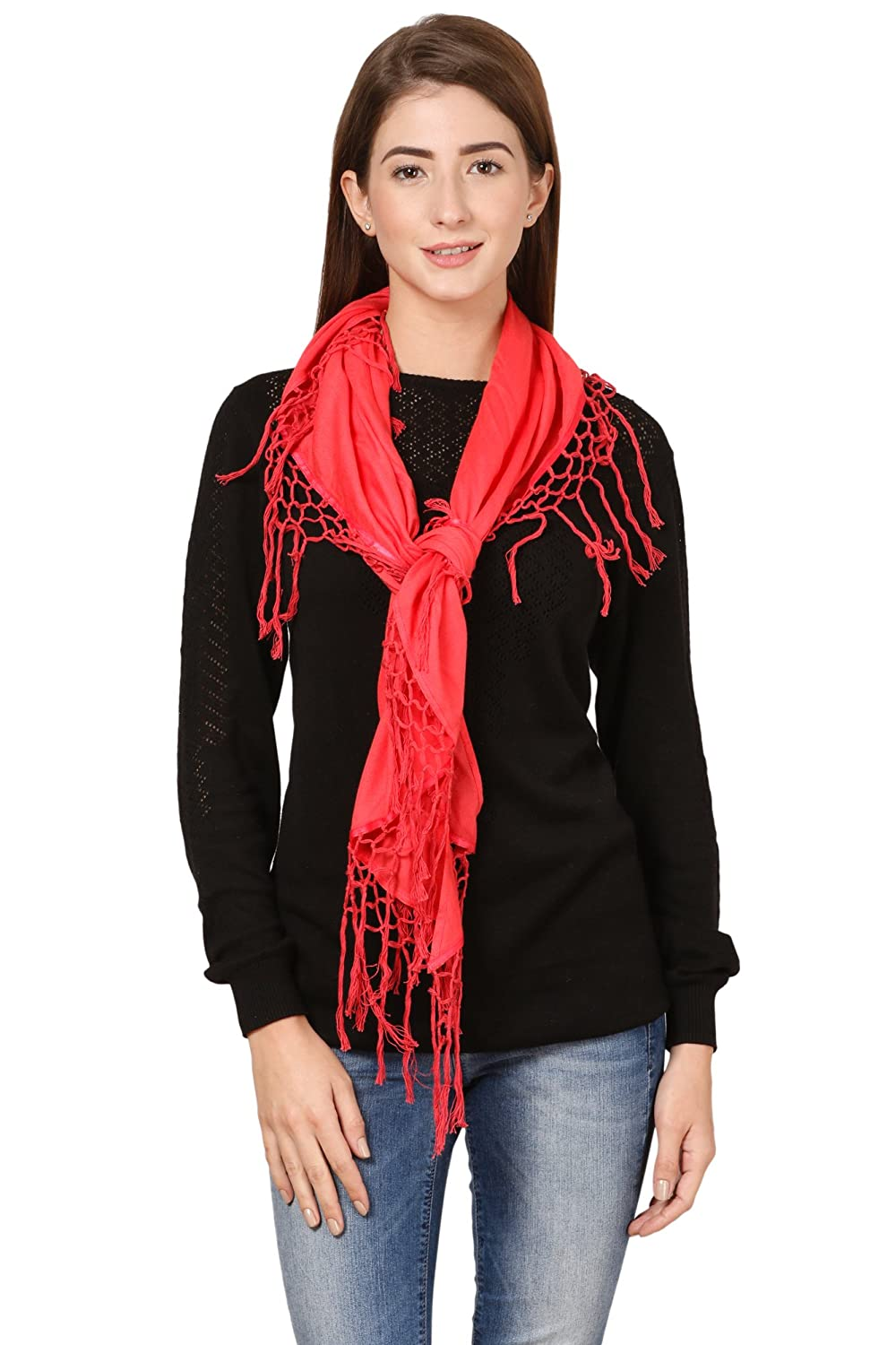 Cafsew Colours Womens Stole CG-10-RM,Coral,Viscose