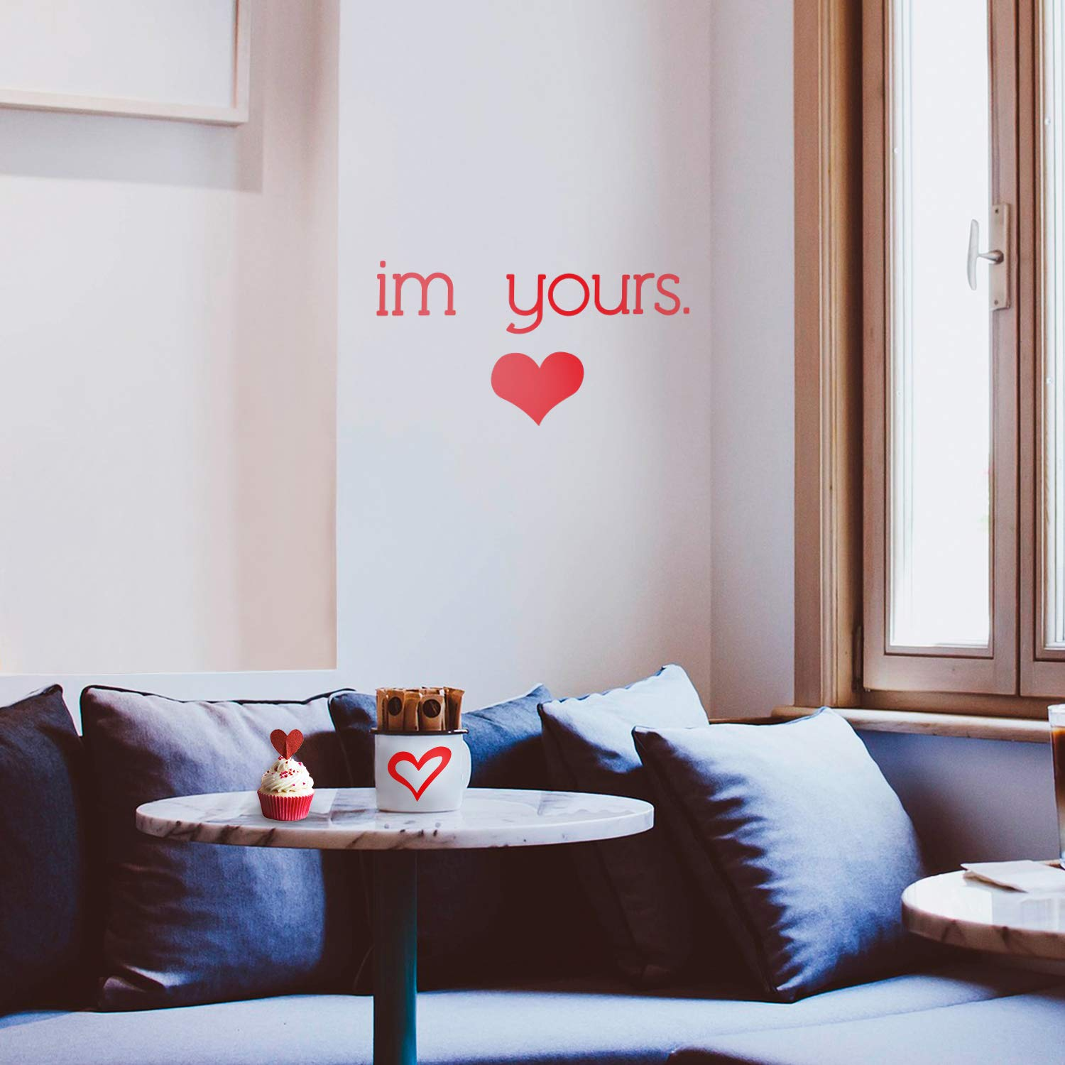 Im Yours with Heart Indoor Outdoor Positive Household Couples Apartment Decor 12 x 23 12 x 23, Red Valentines Home Living Room Bedroom Sticker Valentines Day Vinyl Wall Art Decal