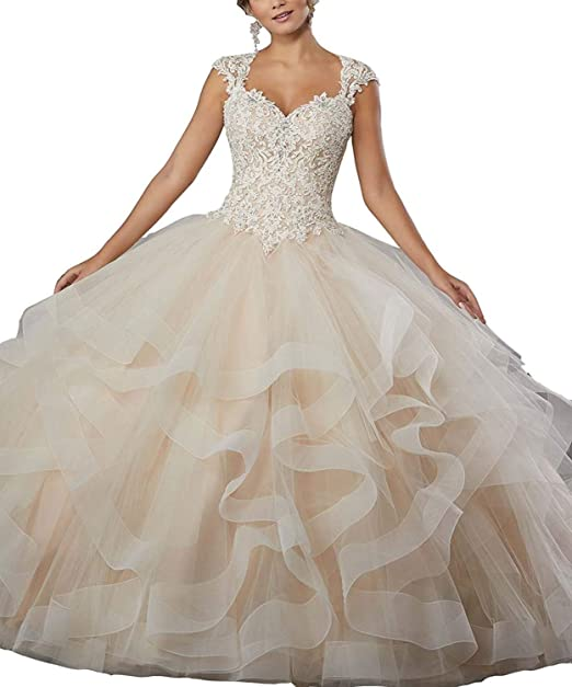 b65540c641 20KyleBird Women s Sweetheart Beading Sleeveless Prom Dresses Crystal Lace Appliques  Tulle Crystal Quinceanera Ball Gowns Champagne