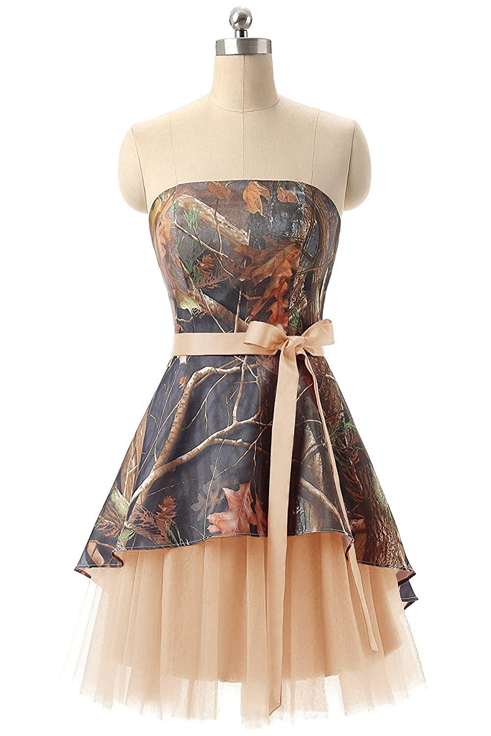 Champagne APXPF Women's Short Strapless Camo Bridesmaid Prom Dress Wedding Party Gown