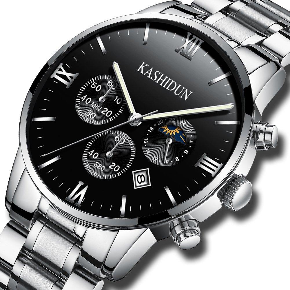 KASHIDUN Men's Watches Luxury Sports Casual Dress Quartz Wristwatches Waterproof Chronograph Calendar Date ZH (Silver Black) by KASHIDUN