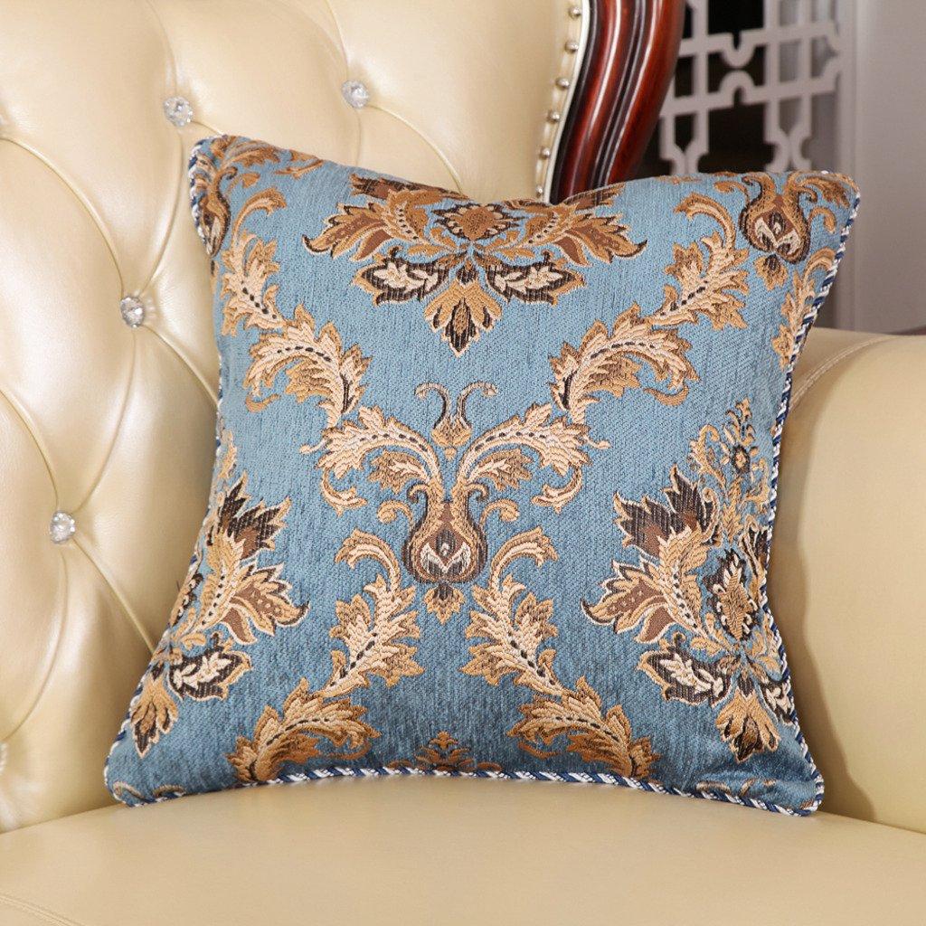M MOCHOHOME Classical Chenille Jacquard Square Decorative Euro Throw Pillow Cover Case Pillowcase Cushion Sham - 22'' x 22'', Pale Turquoise