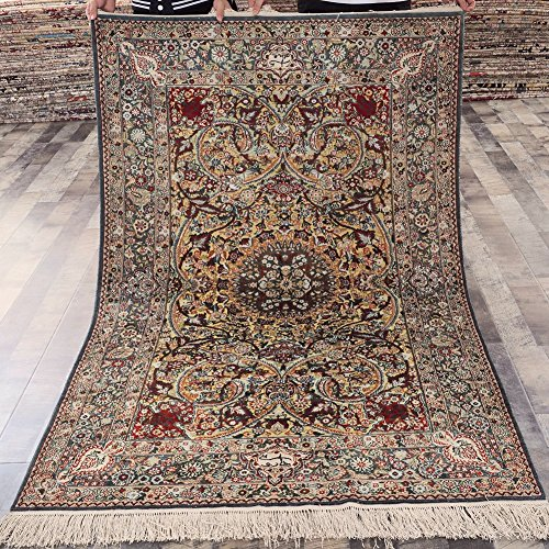 Yilong Antique Hand Knotted Tabriz Persian Golden Silk Rug Handmade Floral Traditional Carpet (4 ...