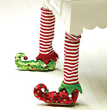 Amazon.com: Elf Stockings and Slippers Christmas Chair Leg Covers ...