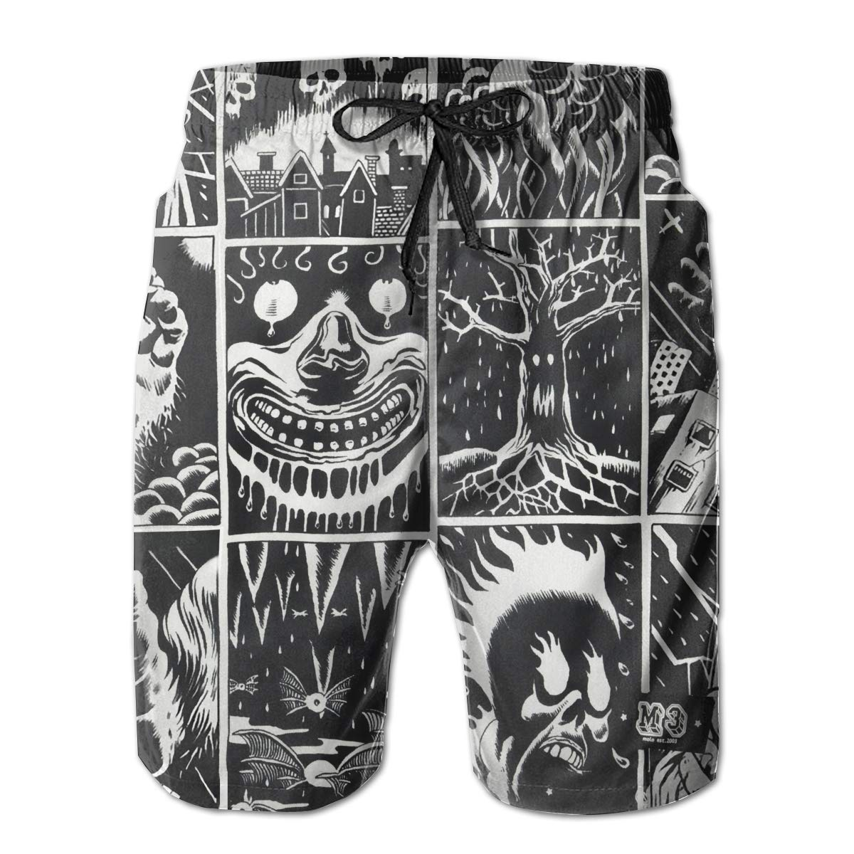 Halloween Swag Animal Skull Mens Swim Trunks Board Beachwear Casual Beach Shorts for Men with Mesh Lining