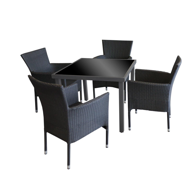 5tlg gartengarnitur gartentisch glastisch aluminium 90x90cm anthr schwarze glasplatte 4x. Black Bedroom Furniture Sets. Home Design Ideas