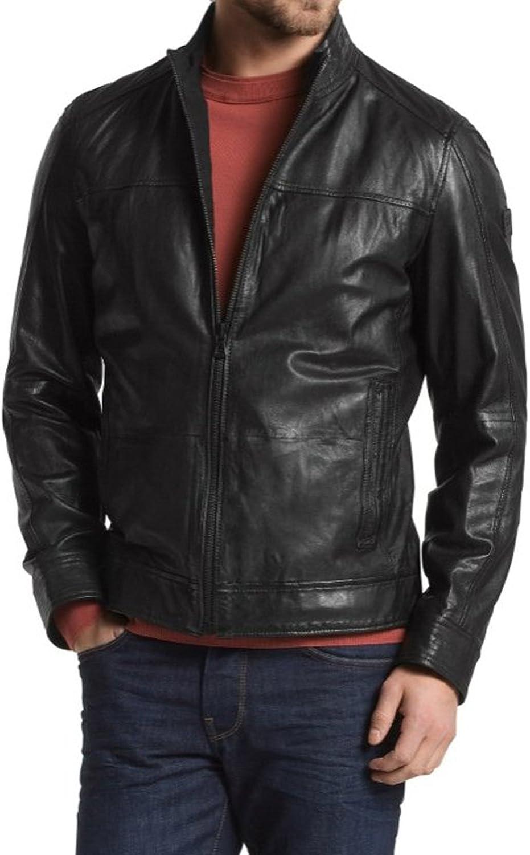 Mens Genuine Lambskin Leather Jacket Slim fit Biker Motorcycle Jacket P243