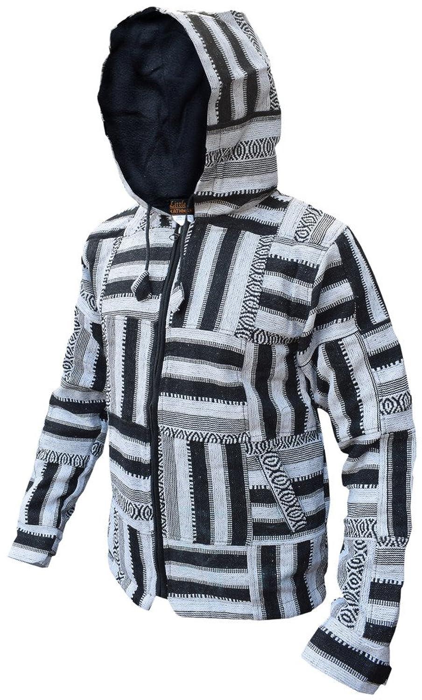 Little Kathmandu Men's Black White Patchwork Fleece Lined Winter Jacket
