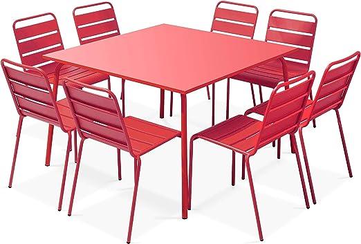 Oviala Table de Jardin carrée en métal et 8 chaises: Amazon ...